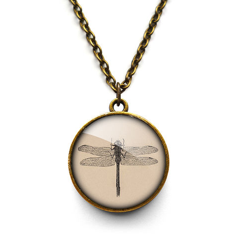 Vintage,Dragonfly,Necklace,(ER03),jewellery, jewelry, handmade, brass, necklace, vintage, dragonfly, insect, nature, glass, cabochon, steampunk, victorian