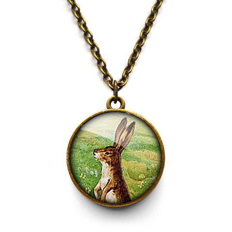 Vintage,Hare,Necklace,(ER08),jewellery, jewelry, handmade, brass, necklace, vintage, hare, rabbit, bunny, easter, glass, cabochon, steampunk, victorian