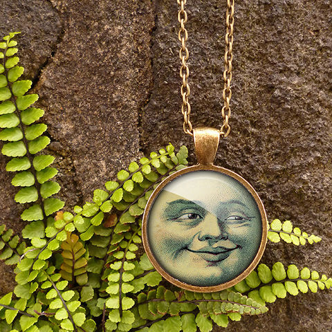 Vintage,Moon,Large,Necklace,(ER01),jewellery, jewelry, handmade, brass, necklace, vintage, moon, face, astronomy, glass, cabochon, steampunk, victorian