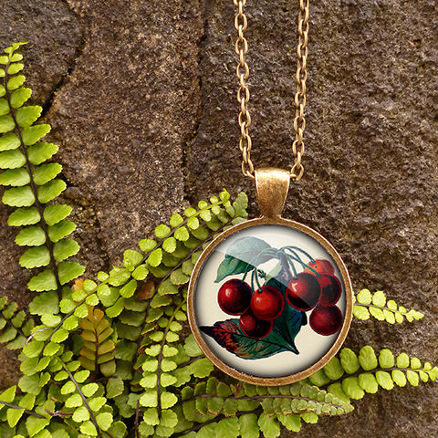 Vintage,Cherries,Large,Necklace,(ER02),jewellery, jewelry, handmade, brass, necklace, vintage, cherries, cherry, fruit, glass, cabochon, steampunk, victorian