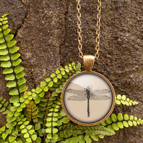Vintage,Dragonfly,Large,Necklace,(ER03),jewellery, jewelry, handmade, brass, necklace, vintage, dragonfly, insect, nature, glass, cabochon, steampunk, victorian