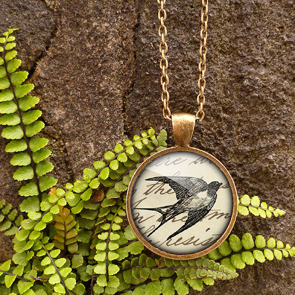 Vintage Swallow Large Necklace (ER05) - product images  of