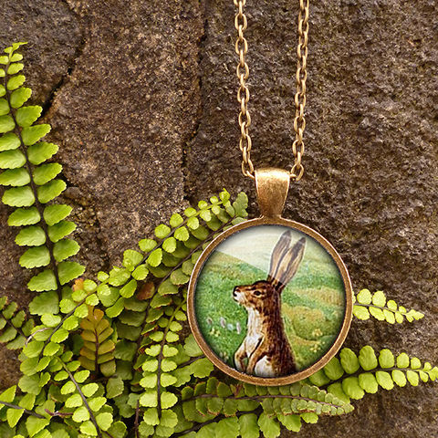 Vintage,Hare,Large,Necklace,(ER08),jewellery, jewelry, handmade, brass, necklace, vintage, hare, rabbit, easter, bunny, glass, cabochon, steampunk, victorian