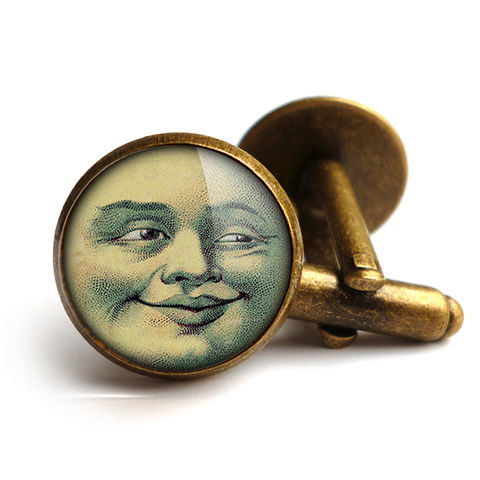 Vintage,Moon,Cufflinks,(ER01),jewellery, jewelry, handmade, brass, cufflinks, vintage, glass, cabochon, steampunk, victorian, moon, face, astronomy