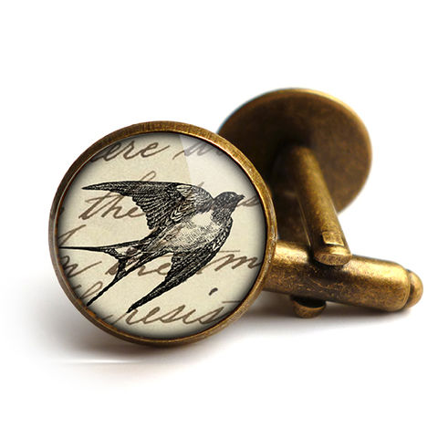 Vintage,Swallow,Cufflinks,(ER05),jewellery, jewelry, handmade, brass, cufflinks, vintage, glass, cabochon, steampunk, victorian, swallow, bird, flight