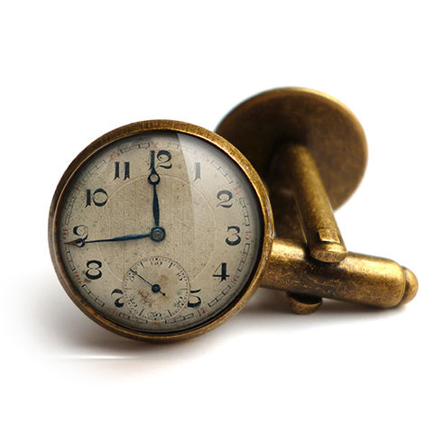 Vintage,Clock,Cufflinks,(ER06),jewellery, jewelry, handmade, brass, cufflinks, vintage, glass, cabochon, steampunk, victorian, clock, time, watch