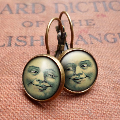 Vintage,Moon,Leverback,Earrings,(ER01),jewellery, jewelry, handmade, brass, earrings, leverback, vintage, glass, cabochon, steampunk, victorian, moon, face, astronomy