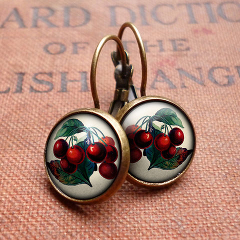 Vintage,Cherries,Leverback,Earrings,(ER02),jewellery, jewelry, handmade, brass, earrings, leverback, vintage, glass, cabochon, steampunk, victorian, cherries, cherry, fruit