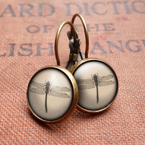 Vintage,Dragonfly,Leverback,Earrings,(ER03),jewellery, jewelry, handmade, brass, earrings, leverback, vintage, glass, cabochon, steampunk, victorian, dragonfly, insect, nature