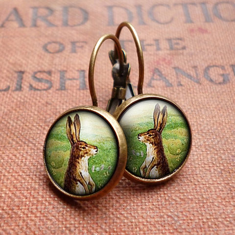 Vintage,Hare,Leverback,Earrings,(ER08),jewellery, jewelry, handmade, brass, earrings, leverback, vintage, glass, cabochon, steampunk, victorian, hare, rabbit, easter, bunny