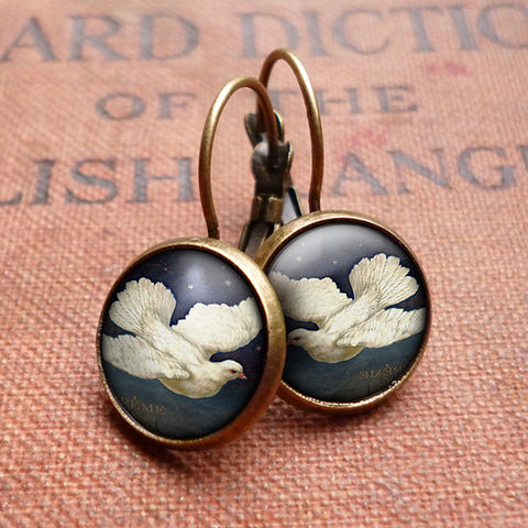 Vintage,Dove,Leverback,Earrings,(ER09),jewellery, jewelry, handmade, brass, earrings, leverback, vintage, glass, cabochon, steampunk, victorian, dove, bird, flight, peace