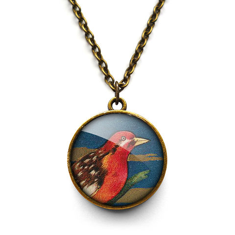 Crimson,Bird,Necklace,(TB01),jewellery, jewelry, handmade, brass, necklace, vintage, bird, glass, cabochon, steampunk, victorian