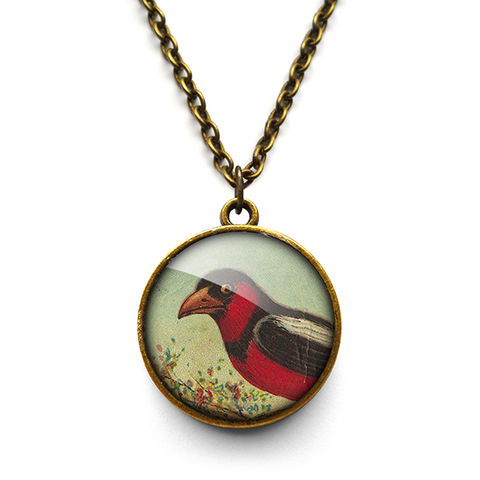 Disapproving,Bird,Necklace,(TB09),jewellery, jewelry, handmade, brass, necklace, vintage, bird, glass, cabochon, steampunk, victorian