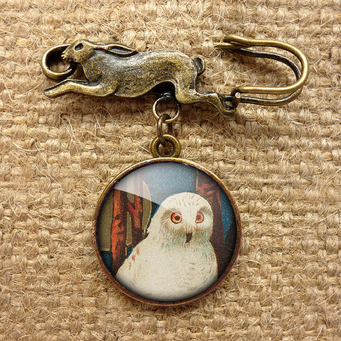 Snowy,Owl,Hare,Pin,Brooch,(TB04),jewellery, jewelry, handmade, brass, brooch, pin, rabbit, hare, vintage, glass, cabochon, steampunk, victorian, bird, owl