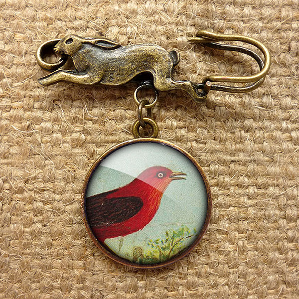 Red Bird Hare Pin Brooch (TB06) - product images  of
