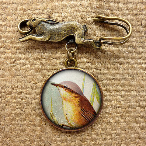 Reed,Warbler,Hare,Pin,Brooch,(TB07),jewellery, jewelry, handmade, brass, brooch, pin, rabbit, hare, vintage, glass, cabochon, steampunk, victorian, reed warbler, bird