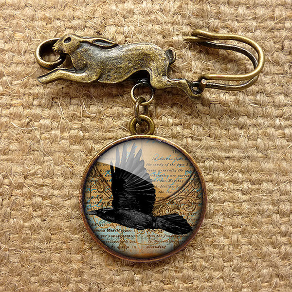 Raven In Flight Hare Pin Brooch (RR03) - product images  of