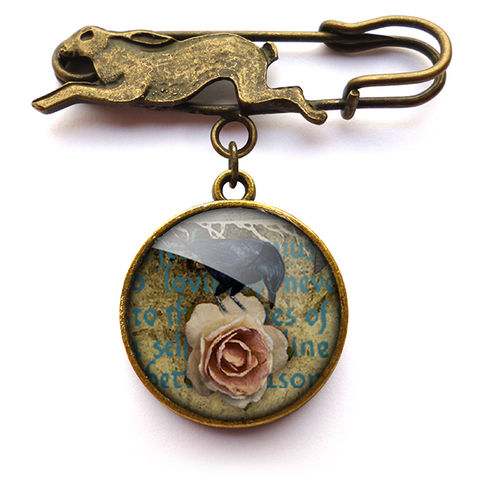 Raven,and,Pink,Rose,Hare,Pin,Brooch,(RR05),jewellery, jewelry, handmade, brass, brooch, pin, rabbit, hare, vintage, glass, cabochon, steampunk, victorian, raven, pink, rose