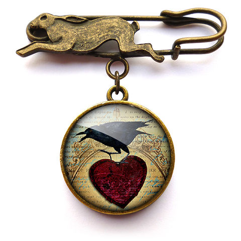 Raven,and,Red,Heart,No.1,Hare,Pin,Brooch,(RR06),jewellery, jewelry, handmade, brass, brooch, pin, rabbit, hare, vintage, glass, cabochon, steampunk, victorian, raven, red, heart