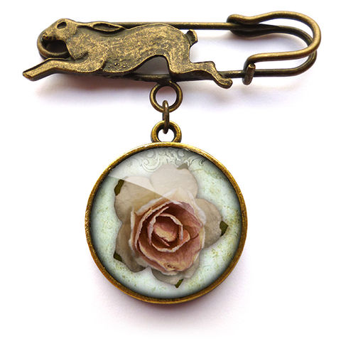 Pink,Rose,Hare,Pin,Brooch,(RR08),jewellery, jewelry, handmade, brass, brooch, pin, rabbit, hare, vintage, glass, cabochon, steampunk, victorian, rose, pink