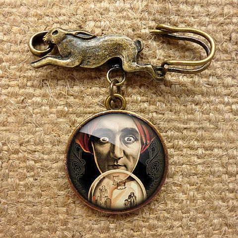 Fortune,Teller,Hare,Pin,Brooch,(DJ04),jewellery, jewelry, handmade, brass, brooch, pin, rabbit, hare, vintage, glass, cabochon, steampunk, victorian, fortune, teller, crystal, ball