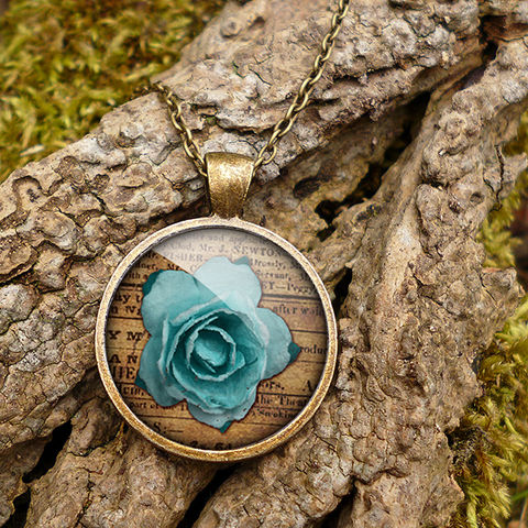 Blue,Rose,Large,Necklace,(RR02),jewellery, jewelry, handmade, brass, necklace, vintage, glass, cabochon, steampunk, victorian, rose, blue