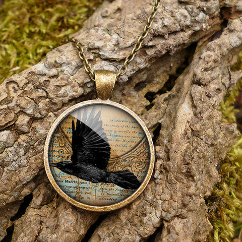 Raven,In,Flight,Large,Necklace,(RR03),jewellery, jewelry, handmade, brass, necklace, vintage, glass, cabochon, steampunk, victorian, raven, bird, flight