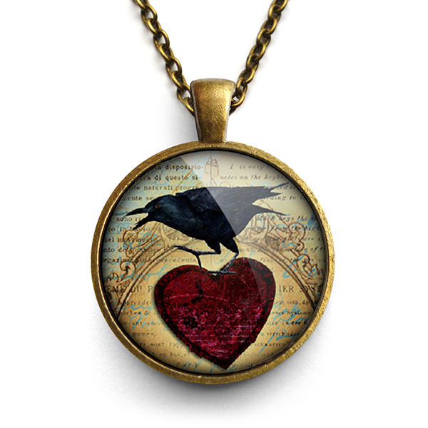 Raven and Red Heart No.1 Large Necklace (RR06) - product images  of