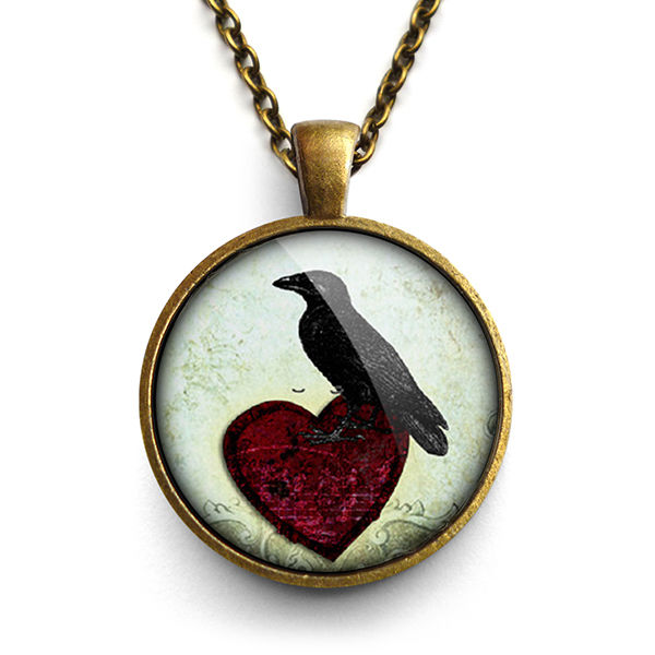 Raven and Red Heart No.2 Large Necklace (RR09) - product images  of