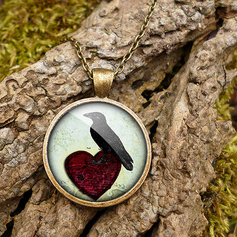Raven,and,Red,Heart,No.2,Large,Necklace,(RR09),jewellery, jewelry, handmade, brass, necklace, vintage, glass, cabochon, steampunk, victorian, raven, bird, red, heart