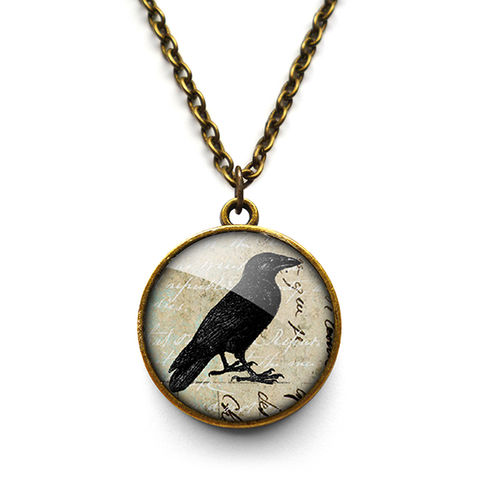 Raven,No.1,Necklace,(RR01),jewellery, jewelry, handmade, brass, necklace, vintage, glass, cabochon, steampunk, victorian, raven, bird