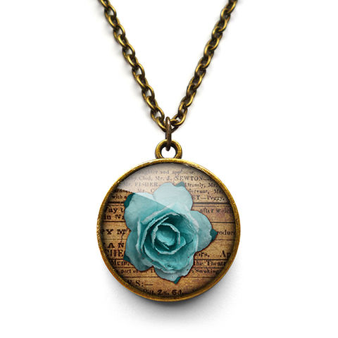 Blue,Rose,Necklace,(RR02),jewellery, jewelry, handmade, brass, necklace, vintage, glass, cabochon, steampunk, victorian, rose, blue