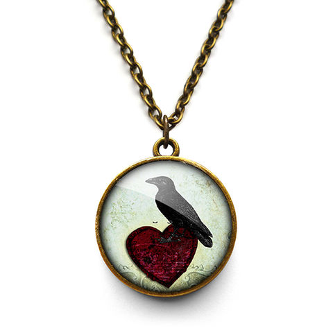 Raven,and,Red,Heart,No.2,Necklace,(RR09),jewellery, jewelry, handmade, brass, necklace, vintage, glass, cabochon, steampunk, victorian, raven, bird, red, heart