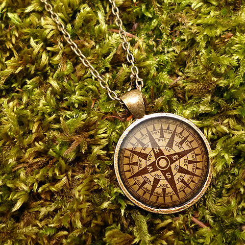 Compass,No.1,Large,Necklace,(DJ03),jewellery, jewelry, handmade, brass, necklace, vintage, glass, cabochon, steampunk, victorian, ship, compass, travel, journey