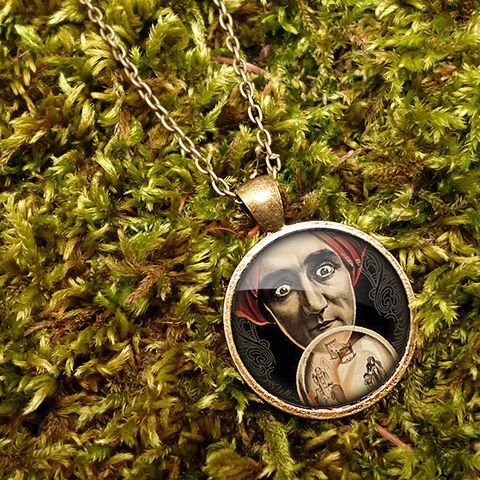 Fortune,Teller,Large,Necklace,(DJ04),jewellery, jewelry, handmade, brass, necklace, vintage, glass, cabochon, steampunk, victorian, fortune, teller, mystic, crystal, ball