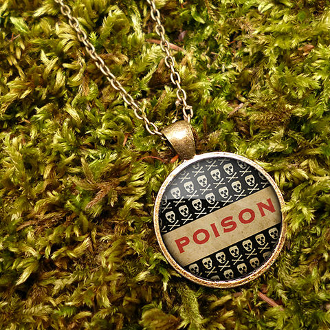 Poison,No.1,Large,Necklace,(DJ06),jewellery, jewelry, handmade, brass, necklace, vintage, glass, cabochon, steampunk, victorian, poison, skull, toxic