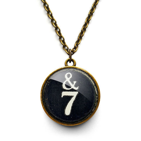 &7,Typewriter,Key,Necklace,(DJ01),jewellery, jewelry, handmade, brass, necklace, vintage, glass, cabochon, steampunk, victorian, typewriter, key, black