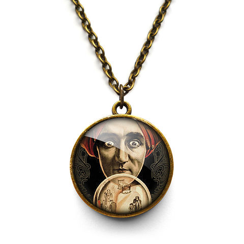 Fortune,Teller,Necklace,(DJ04),jewellery, jewelry, handmade, brass, necklace, vintage, glass, cabochon, steampunk, victorian, fortune, teller, mystic, crystal, ball