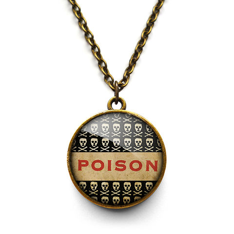 Poison,No.1,Necklace,(DJ06),jewellery, jewelry, handmade, brass, necklace, vintage, glass, cabochon, steampunk, victorian, poison, skull, toxic