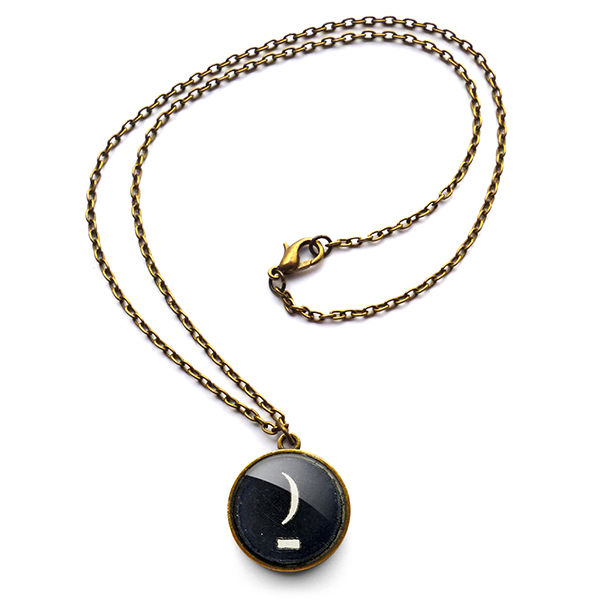 Crescent Moon Typewriter Key Necklace (DJ10) - product images  of