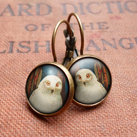 Snowy,Owl,Leverback,Earrings,(TB04),jewellery, jewelry, handmade, brass, earrings, leverback, vintage, glass, cabochon, steampunk, victorian, snowy, owl, bird