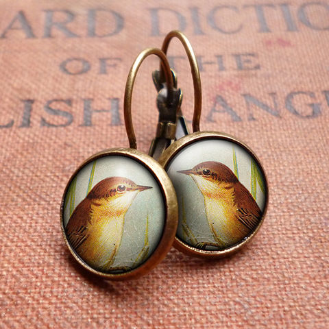 Reed,Warbler,Leverback,Earrings,(TB07),jewellery, jewelry, handmade, brass, earrings, leverback, vintage, glass, cabochon, steampunk, victorian, reed, warbler, bird