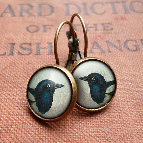 Magpie,Leverback,Earrings,(TB08),jewellery, jewelry, handmade, brass, earrings, leverback, vintage, glass, cabochon, steampunk, victorian, magpie, bird