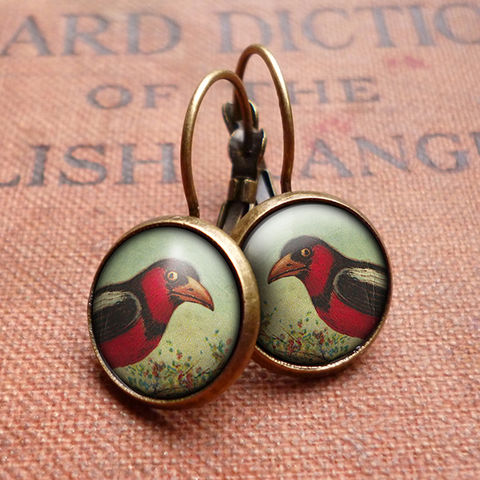 Disapproving,Bird,Leverback,Earrings,(TB09),jewellery, jewelry, handmade, brass, earrings, leverback, vintage, glass, cabochon, steampunk, victorian, red, bird
