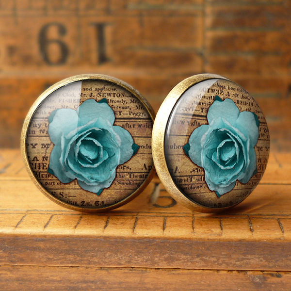 Blue Rose Cufflinks (RR02) - product images  of