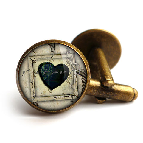Black,Heart,No.1,Cufflinks,(RR04),jewellery, jewelry, handmade, brass, cufflinks, vintage, glass, cabochon, steampunk, victorian, black, heart, gothic
