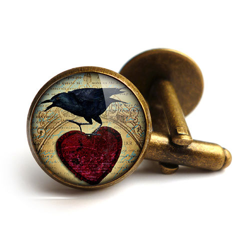 Raven,and,Red,Heart,No.1,Cufflinks,(RR06),jewellery, jewelry, handmade, brass, cufflinks, vintage, glass, cabochon, steampunk, victorian, raven, red, heart, gothic