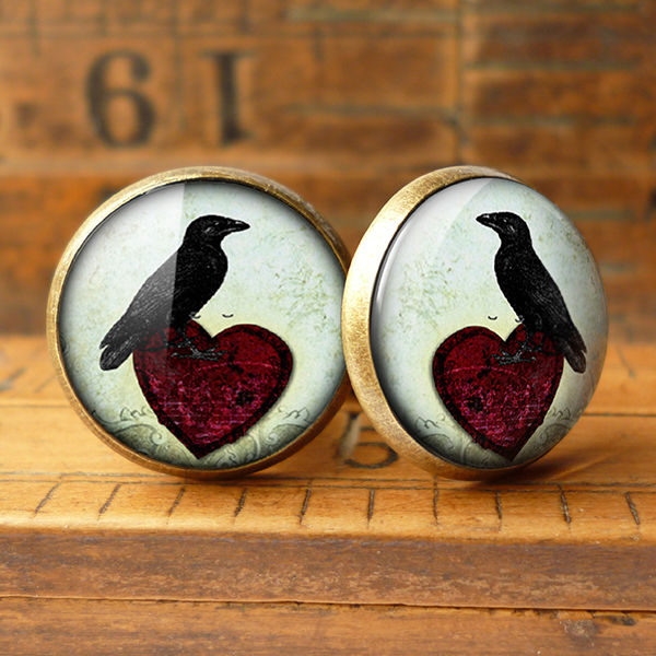 Raven and Red Heart No.2 Cufflinks (RR09) - product images  of