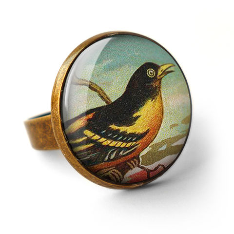 Affable,Bird,Ring,(TB03),jewellery, jewelry, handmade, brass, ring, vintage, glass, cabochon, steampunk, victorian, bird, yellow