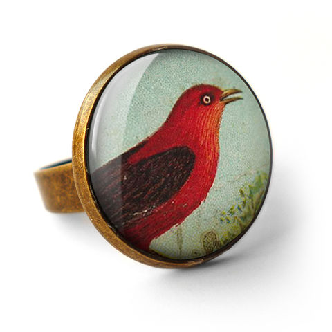 Red,Bird,Ring,(TB06),jewellery, jewelry, handmade, brass, ring, vintage, glass, cabochon, steampunk, victorian, bird, red